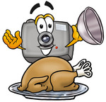 Clip Art Graphic of a Flash Camera Cartoon Character Serving a Thanksgiving Turkey on a Platter
