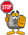 Clip Art Graphic of a Flash Camera Cartoon Character Holding a Stop Sign