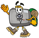 Clip Art Graphic of a Flash Camera Cartoon Character Hiking and Carrying a Backpack