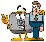 Clip Art Graphic of a Flash Camera Cartoon Character Talking to a Business Man