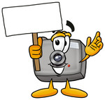 Clip Art Graphic of a Flash Camera Cartoon Character Holding a Blank Sign