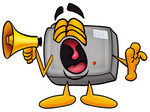 Clip Art Graphic of a Flash Camera Cartoon Character Screaming Into a Megaphone