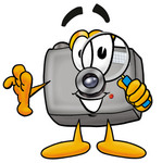Clip Art Graphic of a Flash Camera Cartoon Character Looking Through a Magnifying Glass