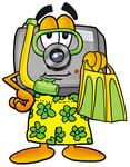 Clip Art Graphic of a Flash Camera Cartoon Character in Green and Yellow Snorkel Gear