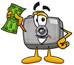 Clip Art Graphic of a Flash Camera Cartoon Character Holding a Dollar Bill
