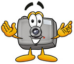 Clip Art Graphic of a Flash Camera Cartoon Character With Welcoming Open Arms