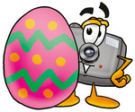 Clip Art Graphic of a Flash Camera Cartoon Character Standing Beside an Easter Egg