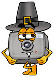 Clip Art Graphic of a Flash Camera Cartoon Character Wearing a Pilgrim Hat on Thanksgiving