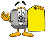 Clip Art Graphic of a Flash Camera Cartoon Character Holding a Yellow Sales Price Tag