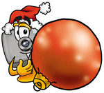 Clip Art Graphic of a Flash Camera Cartoon Character Wearing a Santa Hat, Standing With a Christmas Bauble