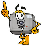 Clip Art Graphic of a Flash Camera Cartoon Character Pointing Upwards