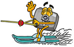 Clip Art Graphic of a Flash Camera Cartoon Character Waving While Water Skiing