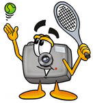 Clip Art Graphic of a Flash Camera Cartoon Character Preparing to Hit a Tennis Ball