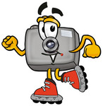 Clip Art Graphic of a Flash Camera Cartoon Character Roller Blading on Inline Skates