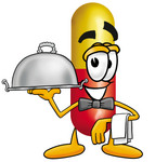Clip Art Graphic of a Red and Yellow Pill Capsule Cartoon Character Dressed as a Waiter and Holding a Serving Platter