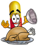 Clip Art Graphic of a Red and Yellow Pill Capsule Cartoon Character Serving a Thanksgiving Turkey on a Platter