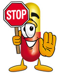 Clip Art Graphic of a Red and Yellow Pill Capsule Cartoon Character Holding a Stop Sign