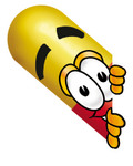 Clip Art Graphic of a Red and Yellow Pill Capsule Cartoon Character Peeking Around a Corner
