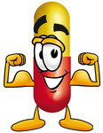 Clip Art Graphic of a Red and Yellow Pill Capsule Cartoon Character Flexing His Arm Muscles