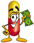 Clip Art Graphic of a Red and Yellow Pill Capsule Cartoon Character Holding a Dollar Bill