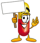 Clip Art Graphic of a Red and Yellow Pill Capsule Cartoon Character Holding a Blank Sign