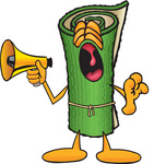 Clip Art Graphic of a Rolled Green Carpet Cartoon Character Screaming Into a Megaphone