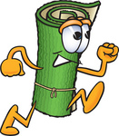 Clip Art Graphic of a Rolled Green Carpet Cartoon Character Running