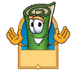 Clip Art Graphic of a Rolled Green Carpet Cartoon Character Label