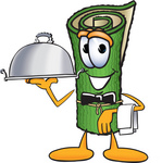 Clip Art Graphic of a Rolled Green Carpet Cartoon Character Dressed as a Waiter and Holding a Serving Platter