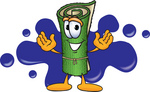 Clip Art Graphic of a Rolled Green Carpet Cartoon Character Logo