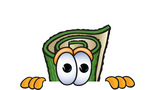 Clip Art Graphic of a Rolled Green Carpet Cartoon Character Peeking Over a Surface