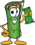 Clip Art Graphic of a Rolled Green Carpet Cartoon Character Holding a Dollar Bill