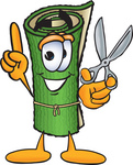 Clip Art Graphic of a Rolled Green Carpet Cartoon Character Holding a Pair of Scissors