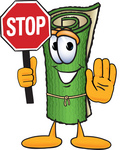 Clip Art Graphic of a Rolled Green Carpet Cartoon Character Holding a Stop Sign