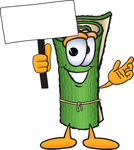 Clip Art Graphic of a Rolled Green Carpet Cartoon Character Holding a Blank Sign