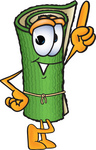 Clip Art Graphic of a Rolled Green Carpet Cartoon Character Pointing Upwards