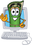 Clip Art Graphic of a Rolled Green Carpet Cartoon Character Waving From Inside a Computer Screen