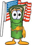 Clip Art Graphic of a Rolled Green Carpet Cartoon Character Pledging Allegiance to an American Flag