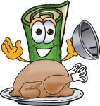 Clip Art Graphic of a Rolled Green Carpet Cartoon Character Serving a Thanksgiving Turkey on a Platter
