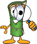 Clip Art Graphic of a Rolled Green Carpet Cartoon Character Looking Through a Magnifying Glass