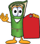 Clip Art Graphic of a Rolled Green Carpet Cartoon Character Holding a Red Sales Price Tag