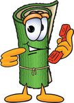 Clip Art Graphic of a Rolled Green Carpet Cartoon Character Holding a Telephone