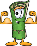 Clip Art Graphic of a Rolled Green Carpet Cartoon Character Flexing His Arm Muscles