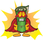 Clip Art Graphic of a Rolled Green Carpet Cartoon Character Dressed as a Super Hero