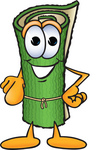 Clip Art Graphic of a Rolled Green Carpet Cartoon Character Pointing at the Viewer