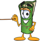 Clip Art Graphic of a Rolled Green Carpet Cartoon Character Holding a Pointer Stick