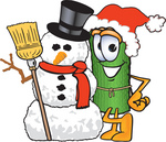 Clip Art Graphic of a Rolled Green Carpet Cartoon Character With a Snowman on Christmas