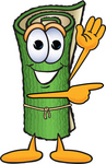 Clip Art Graphic of a Rolled Green Carpet Cartoon Character Waving and Pointing