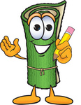 Clip Art Graphic of a Rolled Green Carpet Cartoon Character Holding a Pencil