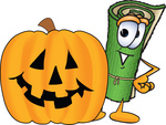 Clip Art Graphic of a Rolled Green Carpet Cartoon Character With a Carved Halloween Pumpkin